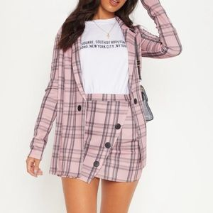 Pink check button two piece